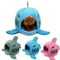 S Size Cute Removable Shark Mouth Pet Dog Cat Kennel House Bed Washable