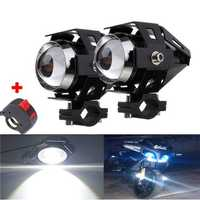 2pcs U5 Motorcycle LED Headlight Black Driving Fog Spot Hi/Lo Light with Kill Switch