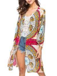 Women Long Sleeve Loose Printed Sun Protection Cover-Ups