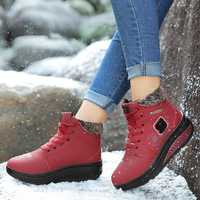 Women Comfy Warm Suede Lace Up Snow Ankle Boots