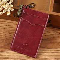 Vintage Genuine Leather Keychain Card Holder Wallet For Men