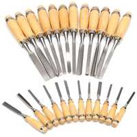 12Pcs Wood Working Wood Carving Hand Chisel Professional Gouges Tool Set