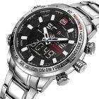 Offres Flash NAVIFORCE NF9093 Fashion Men Dual Display Watch Multifunction Stainless Steel Quartz Watch