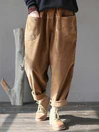 Women Pure Color Elastic Waist Corduroy Pants