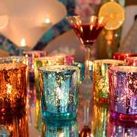 Colorful Glass Cup Candle Stick Candle Holder Candelabra Romantic Home Wedding Decor Gift