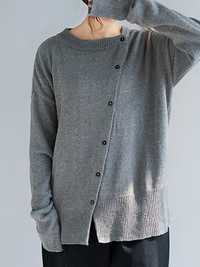 Women Casual Crew Neck Front Button Loose Sweaters