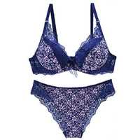 Lace Underwire Floral Printing Adjusted Bra Set
