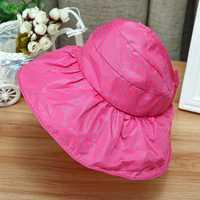 Kids Girls Bow-knot Empty Top Visor Hats Children Summer Foldable Wide Brim Sunscreen Sun Hat