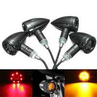 4X Universal LED Amber+Red Light Motorcycle Rear Turn Signal Brake Lights Running Lamp