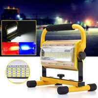 Portable 100W 100 LED Work Light Rechargeable Outdoor 3 Colors Spot Camping Flood Lamp