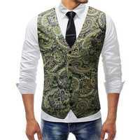 Mens Fashion Printing V Neck Slim Korean Style Casual Vest