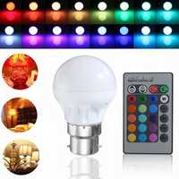 B22 3W Dimmable RGB SMD5050 6 LED Light Bulb Lamp Color Changing IR Remote Control AC85-265V