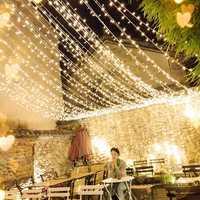 4M*0.6M Waterproof Warm White 96 LED Curtain String Light for Christmas Wedding Holiday Decor AC220V