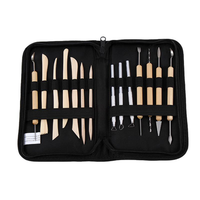 ZHUTING TL-14 14Pcs Clay Sculpting Carving Tool Set Wooden Metal Pottery Clay Tools Professional DIY Ceramic Modeling Kit for Clay Wood Shaping Handicraft Painting Embossing with Bag