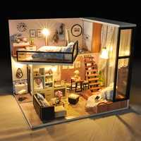 T-Yu New Mini Cockloft DIY Doll House Miniatures Furniture Kit Kids Gift LED Light