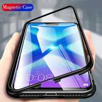 Bakeey Flip 360° Magnetic Adsorption Metal Tempered Glass Protective Case for Huawei Honor 8X