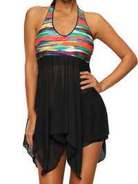 Plus Size 5XL Colorful Irregular Split Swimdress