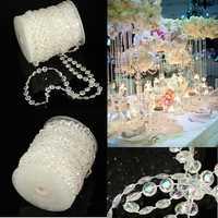 30m Wedding Curtain Diamond Iridescent Acrylic Crystal Beads Strand Party Decor