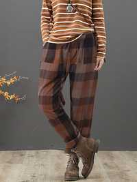 Plus Size Vintage Plaid Elastic Waist Harem Pants