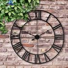 Acheter 80cm Large Outdoor Garden Wall Clock Roman Numerals Giant Open Face Metal