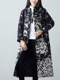 Warm Winter Robe Flower Long Coat Linen Thin Cotton Jacket for Women