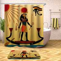 Waterproof Egyptian Style Shower Curtains With 12pcs Hooks Bathroom Toilet Rug Mat Set