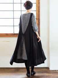 Women Multi-wear Japanese Style Cotton Solid Apron Dress