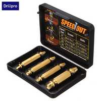 Drillpro 4pcs Double Side Damaged Screw Extractor Drill Bits Out Remover Bolt Puller