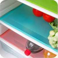 KCASA 4pcs Refrigerator Pad Antibacterial Antifouling Mildew Moisture Tailorable Pad Refrigerator Mats Fridge Waterproof Mat