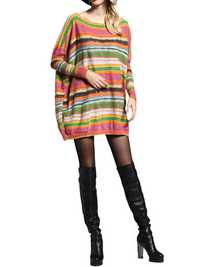 Women Loose O-Neck Long-Sleeve Pullover Printing Striped Knitted Mid Long Sweater Dress