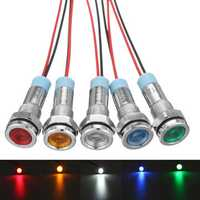 12V 6mm LED Indicator Light Pilot Dash Lamp Motorccyle Car Truck Boat Metal