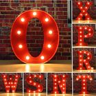 Meilleurs prix Vintage Metal LED Light DIY Letter N to X Sign Carnival Wall Marquee Decoration