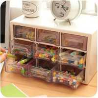 Plastic 9 Lattice Portable Mini Debris Cabinets Amall Drawer Jewelry Storage Box