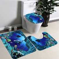 3pcs Blue Ocean Bath Rugs Set Velvet Fabric Pedestal Mat Toilet Set Cover Carpet