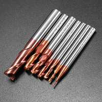 Drillpro 1-8mm 2 Flutes Tungsten Carbide End Mill Cutter HRC55 AlTiN Coating CNC End Mill Tool