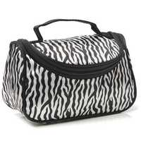 Women Makeup Cosmetic Zebra Toiletry Bag Organizer Handbag Travel Case