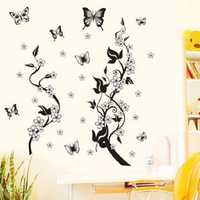 70X50CM DIY Wall Stickers Home Decor Flowers Butterfly Removable Wall Paper Stickers Art