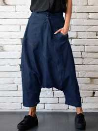 Women Denim Drop Crotch Harem Pants