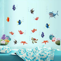 Coloful Under Water World Wall Sticker Living Room Home Decoration Creative Decal DIY Mural Wall Art