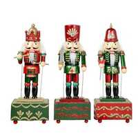 Nutcracker Music Box Decorations Square Drum S-word Sharp S-word Hand Cranked Clockwork Type Music Box Xmas Birthday Gift Desktop Decor