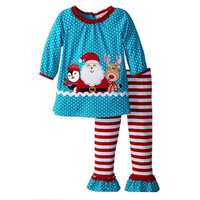 Christmas Kid Girls Santa Elk Pattern Long Sleeve Striped Clothing Suit