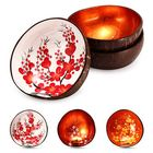 Bon prix Natural Coconut Shell Bowl Handmade Paint Dishes Vintage Craft Home Decorations