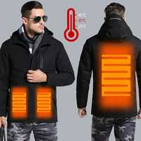 Man Woman Electronic USB Heated Jacket Intelligent Heating Hooded Work Motorcycle Skiing Riding Coat