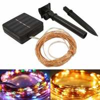 10M 100LED Solar Powered Copper Wire Fairy String Light for Halloween Christmas Party Home Decor