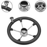 Stainless Steel 5 Spoke Black Foam Grip Steering Wheel Destroyer For Marine Boat
