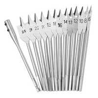 15Pcs 6-25mm Flat Wood Spad Drill Bit Set Hex with Arbors Woodworking Tool