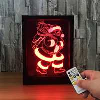 LED 3D Christmas Colorful Photo Frame Night Lights 7 Colors Change Remote Control Desk Santa Lamp