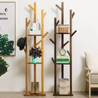 Les plus populaires 8 Hooks 3 Layer Tree Stand Hanger Bamboo Shelf Clothes Laundry Coat Rack Combine