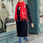 Promotion Women Winter Cashmere-Like Plum Embroidery Tassel Scarf