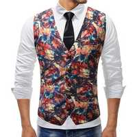 Mens Chic Printing Slim Single Breasted Waistcoat Suit Vest